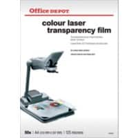 Office Depot A4 clear transparency film for colour laser printers - 125 micron - Pack of 50