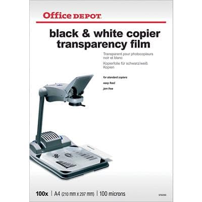 Office Depot Transparency Film 100 Micron A4 Clear 21 x 29.7 cm Transparent 100 Sheets
