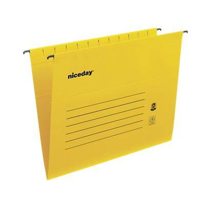 Niceday Vertical Suspension File Foolscap V Base 220gsm Yellow Pack of 25