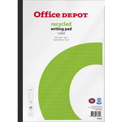Office Depot Notepad Recycled A4 Ruled 5 Pieces of 80 Sheets