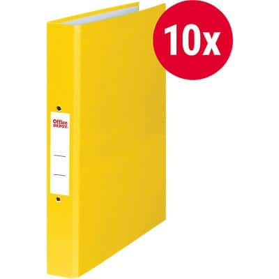 Office Depot Ring Binder Paper on Board A4 2 ring 25 mm Yellow Pack of 10
