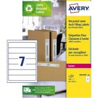 Avery 100% Recycled Spine Labels for Narrow Files LR4760 White 100 Sheets of 7 Labels