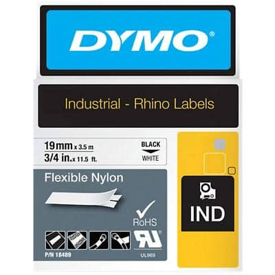 DYMO IND Rhino Vinyl Labels 18489 Black on White 19 mm x 3.50 m