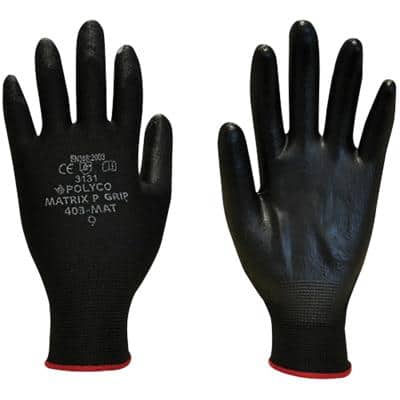 Polyco Gloves Polyurethane Unpowdered Size 10 Black
