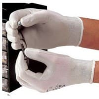 Polyco Gloves Knitted Nylon, Nitrile Size 8 Grey, White