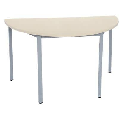 Niceday Semicircular Meeting Room Table with Maple Coloured MFC & Aluminium Top and Silver Frame 1200 x 600 x 750 mm