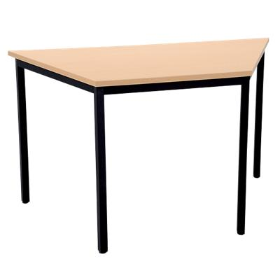 Niceday Trapezoidal Table with Beech Coloured MFC & Aluminium Top and Silver Frame 1400 x 700 x 750 mm