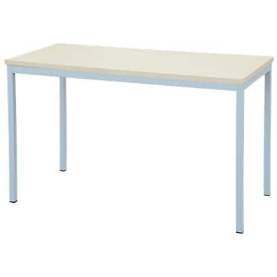 Niceday Rectangular Table with Maple Coloured MFC & Aluminium Top and Silver Frame 1400 x 700 x 750 mm