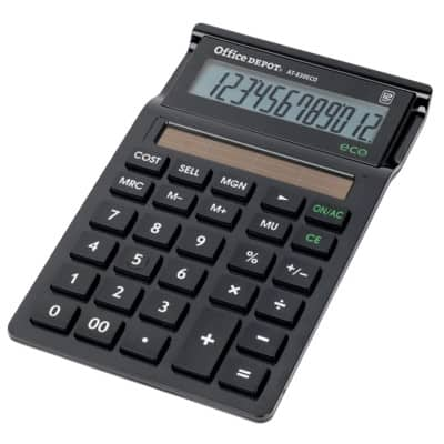 Office Depot Desktop Calculator AT-830 Eco Black