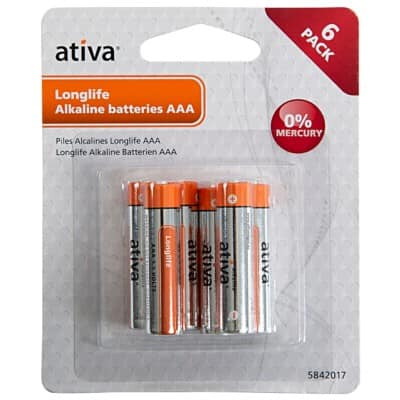 Ativa AAA Batteries Premium Alkaline Pack of 6
