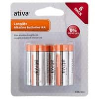 Ativa AA Alkaline Batteries Longlife LR6 1.5V Pack of 6