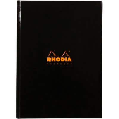 Rhodia A5 Casebound Black Hardback Business Notebook Ruled 192 Pages