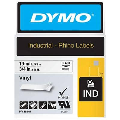 DYMO IND 18445 Rhino Vinyl Labels, Authentic, Self Adhesive, Black Print on White 19 mm x 5.50 m