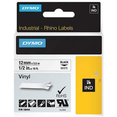 DYMO IND Rhino Vinyl Labels 18444 Black on White 12 mm x 5.50 m