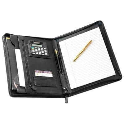 Falcon Leather Conference Folder 10.1 Inch Tablet with Calculator 26 x 35 x 4 cm Black