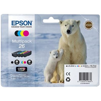 Epson 26 Original Ink Cartridge C13T26164010 Black, Cyan, Magenta, Yellow 4 Pieces