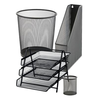 Office Depot Desk Organiser Organisation Bundle Black Wire Mesh