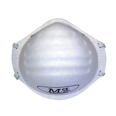 JSP Dust Mask FFP1 Polypropylene, Steel, Polyisoprene, Polyurethane White 20 Pieces