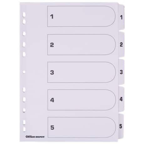 Office Depot Mylar Dividers, White Board, A4, 5 Part 1-5 Numbered - Set
