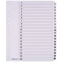 Office Depot Indices A4+ White 20 Part Perforated Cardboard 1 to 20