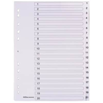 Office Depot Dividers A4 White 20 Part Perforated Polypropylene 1 to 20