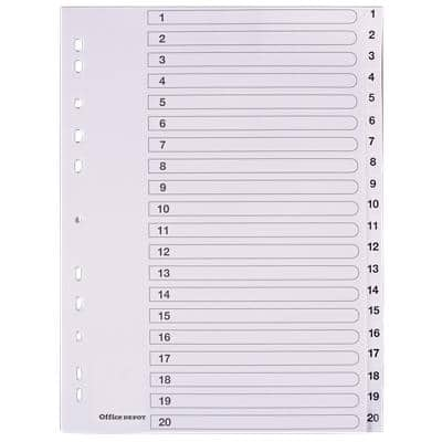 Office Depot Indices A4 White 20 Part Perforated Polypropylene 1 to 20