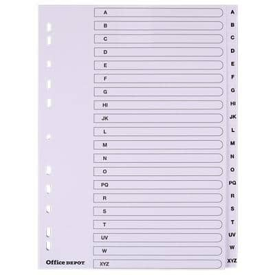 Office Depot Indices A4 White 20 Part Perforated Board A - Z