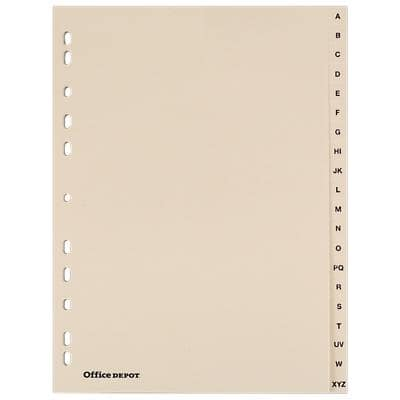Office Depot Punched Dividers, Buff Board, A4, 20 Part A-Z - Set