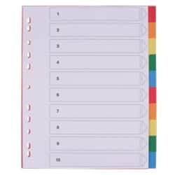 Office Depot Polypropylene Dividers, White (Coloured Tabs) Polypropylene, A4 Extra Wide, 10 Part Blank Set