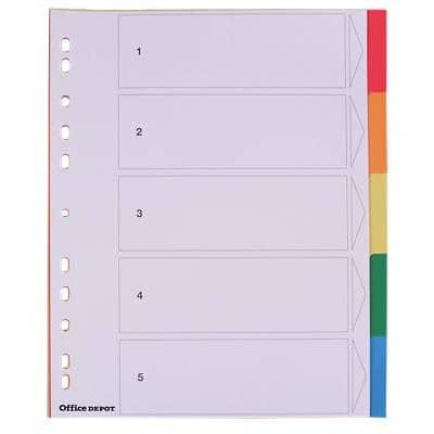 Office Depot Dividers 28203 A4+ Assorted 5 Part Perforated PP Blank