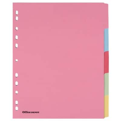 Office Depot Dividers 28403 A4 extra wide Assorted 5 tabs Perforated Card Blank 5 Pieces