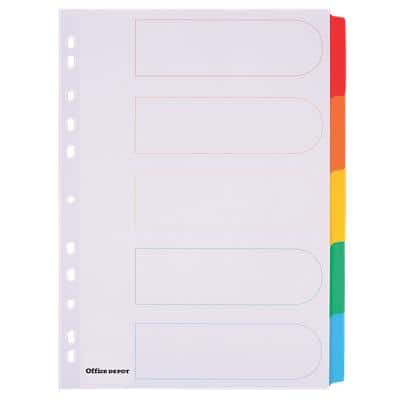 Office Depot Dividers 28089 A4 Assorted 5 Part Perforated Card Blank