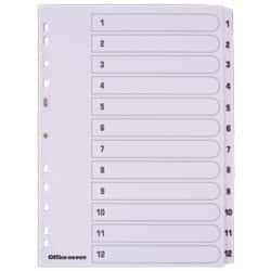 Office Depot Mylar Dividers, White Board, A4, 12 Part 1-12 Numbered - Set