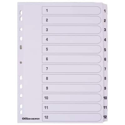 Office Depot Numerical Dividers A4 White 12 tabs Perforated Card 1 to 12 12 Pieces