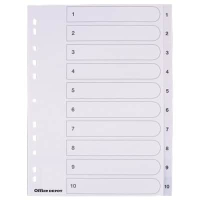 Office Depot Dividers A4 White 10 tabs Perforated PP 1 to 10