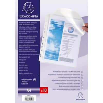 Exacompta Punched Pockets 5503E A4 Transparent Polypropylene 10 Pieces