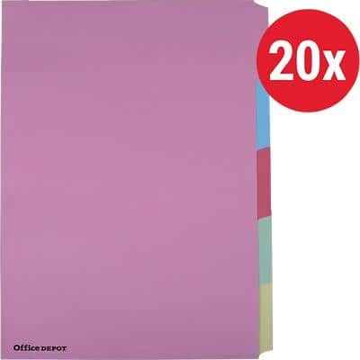 Office Depot Dividers A4 Assorted 5 tabs Card Blank - 20 Sets