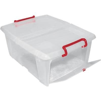 Office Depot Plastic Storage Box Front Opening 20L Clear 370 x 470 x 190 mm