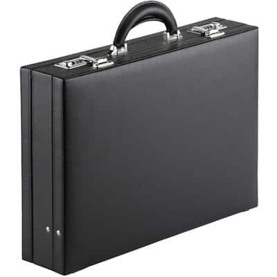 Falcon F12284 Leather-Look Lockable Attache Case Black