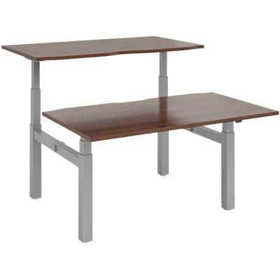 Elev8² Rectangular Sit Stand Back to Back Desk with Walnut Melamine Top and Silver Frame 4 Legs Touch 1400 x 1650 x 675 - 1300 mm