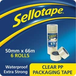 Sellotape Packaging Tape 1445171 50 mm x 66 m Clear 6 rolls