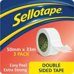 Sellotape Double Sided Tape 50 mm x 33 m Transparent 3 rolls