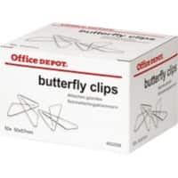 Office Depot Butterfly Paper Clips 57mm Silver Pack of 50