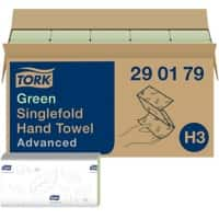 Tork Folded Hand Towels H3 Advanced 2 Ply V-fold Green 250 Sheets Pack of 15