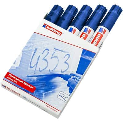 edding 800 Permanent Marker Broad Chisel Blue Pack of 5