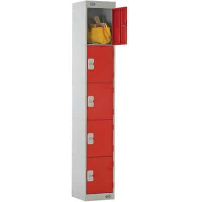 LINK51 Standard Mild Steel Locker with 5 Doors Standard Deadlock Lockable with Key 300 x 450 x 1800 mm Grey & Red