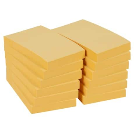Office Depot Sticky Notes Pastel Yellow 76 x 51 mm 70gsm 12 pieces of 100 sheets