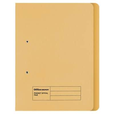 Office Depot Spring Coil Flat File Foolscap Yellow Manila 34.4 x 2.5 x 35.4 cm 50 Pieces