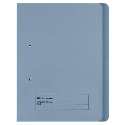 Office Depot Folders Spring Coil Foolscap Blue Manila 24 x 2.5 x 35.4 cm Pack of 50