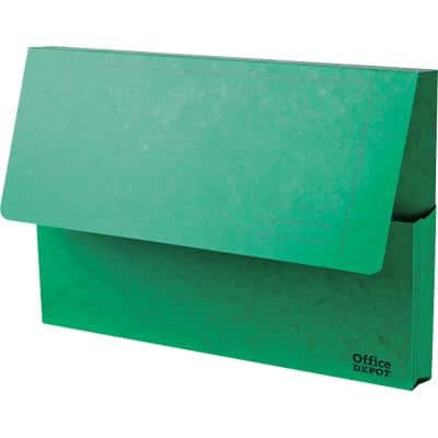 Office Depot Document Wallets Foolscap Green Pressboard 35.6 x 3.2 x 24 cm 10 Pieces